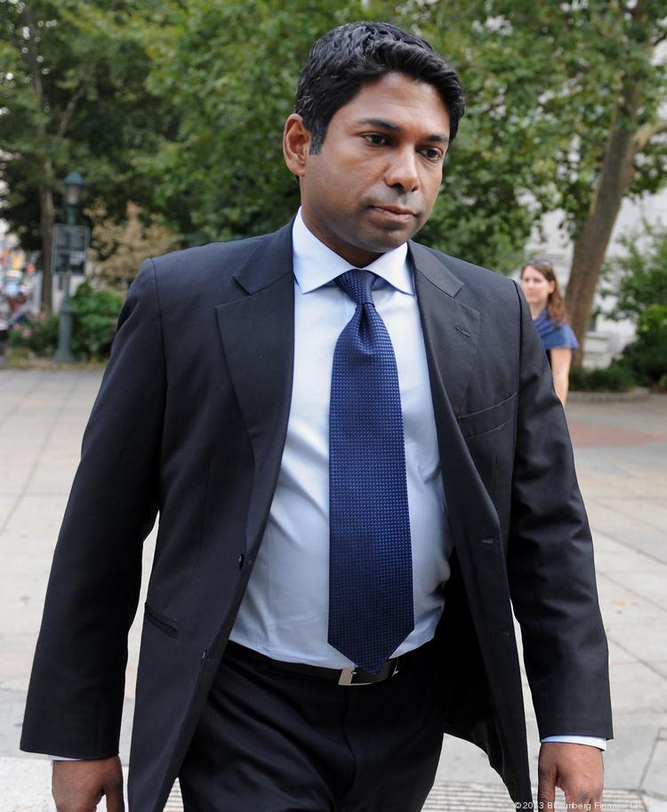 Rengan Rajaratnam, founder of Sedna Capital Management and younger brother of imprisoned hedge-fund founder Raj Rajaratnam, exits federal court in New York on Tuesday. Rengan was charged for his part in an insider trading scheme tied to his brother's fund the Galleon Group.