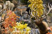 A camouflaged employee does animal calls during a press tour of the new Cabela's in Lone Tree.