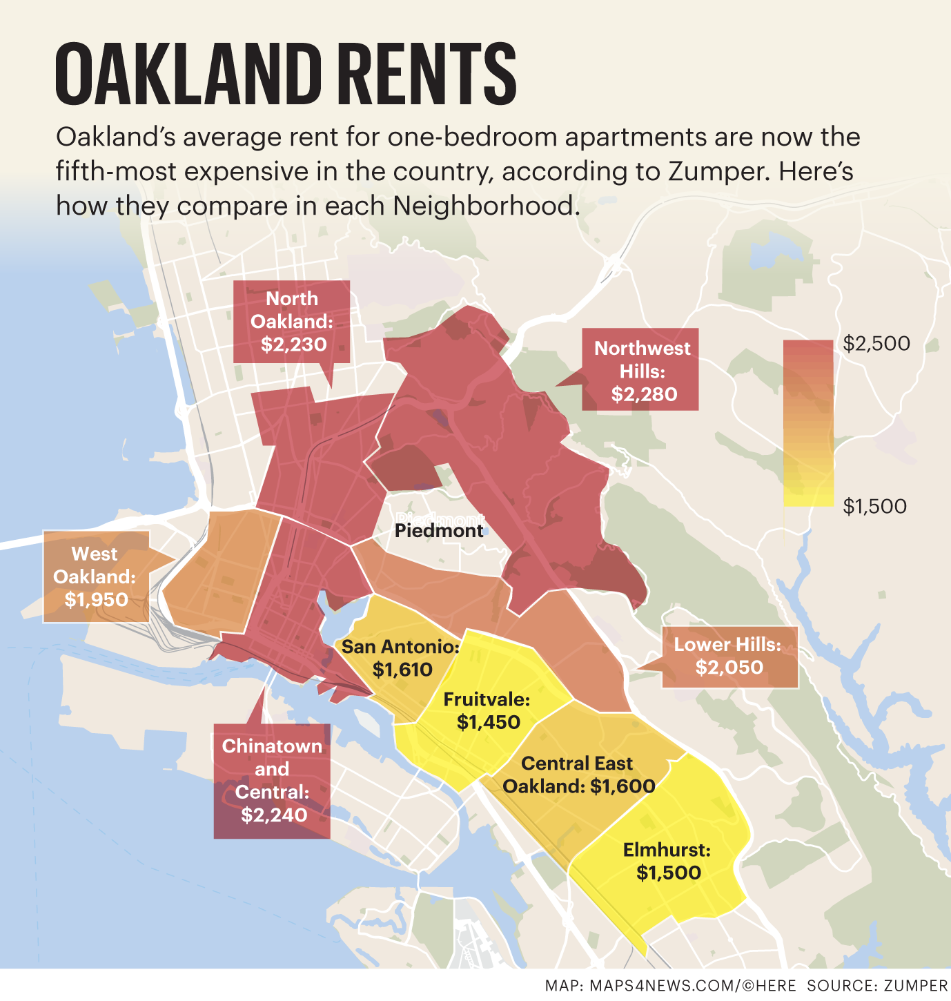Cheapest Housing In Us Oakland Neighborhoods With The Highest And Cheapest Rents