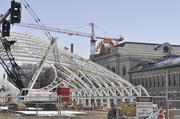 Commuter rail lines go in on the west side of Denver Union Station. There will be eight lines and five platforms for the new lines coming from DIA, to be completed in 2016.