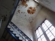A stairwell inside the Franklin School. The building is a National Historic Landmark and protected inside and out, so its redevelopment will be difficult.