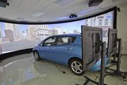 A look at the drive simulator at the Nissan Silicon Valley Research Center, which engineers use to test self-driving car technology on existing electric vehicles.