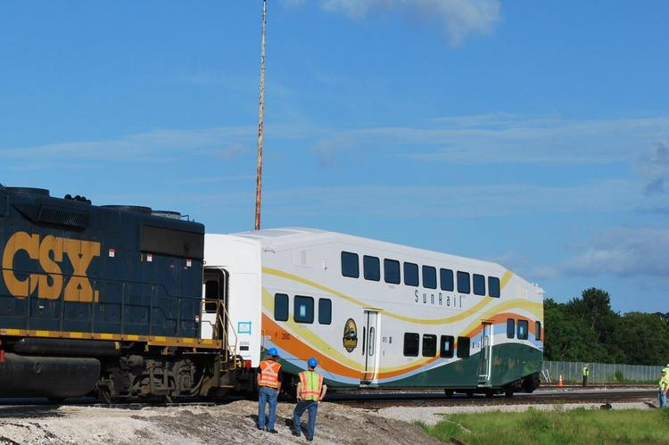 CSX helped deliver the first SunRail cab car to Sanford on July 30.