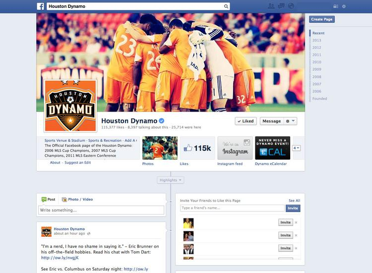 The Houston Dynamo soccer team started using social media in the fall of 2012. The team now has 115,000 Facebook fans.