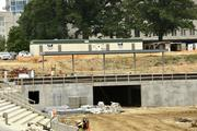 Here are the left field and outfield walls as seen from behind home plate.