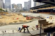 Here's a view of the Knights' BB&T Ballpark as construction progress, shown from behind home plate.