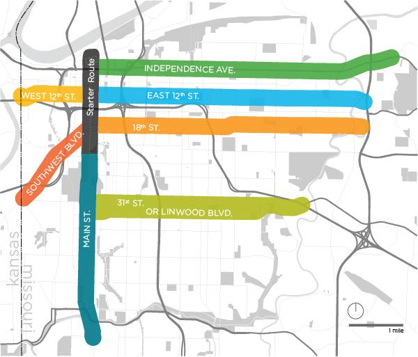 The seven corridors in this maps were identified by a study for potential streetcar expansion routes.