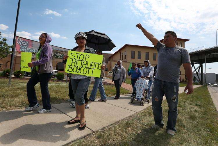 Palermo Villa Inc. workers protested in 2012 in front of the company's plant in the Menomonee Valley.