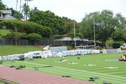 A worker on at Punahou School's Alexander Field stands among pieces of the new turf. The field should be complete at the end of August.