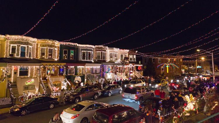 rowhomes along 34th street in hampden light up annually for the holiday season - Baltimore 34th Street Christmas Lights