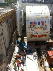 A portion of 'Harriet,' the 428.5-foot-long tunnel-boring machine.