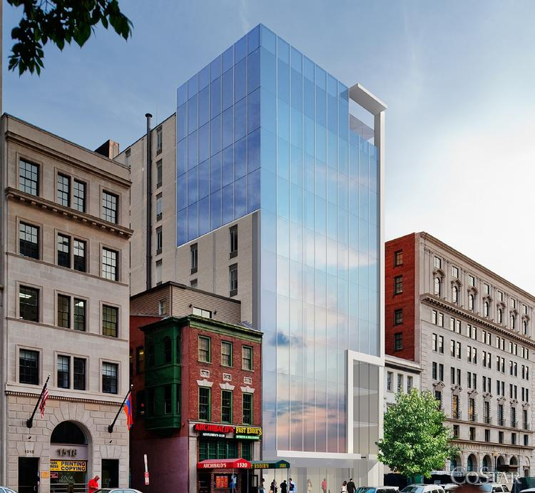 One possible scenario for how 1522 K St. NW could be redeveloped was included in Transwestern marketing materials posted with CoStar Group Inc.