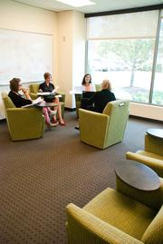 Leah Bettis, left to right, Elizabeth Skafish, Niti Kadakia and Corrine Dennison during a discussion at MissionPoint.