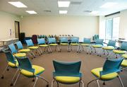 Chairs are in a circle for employees to get together once a month for group discussions at MissionPoint.