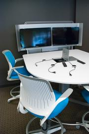 A workspace optimized for easy video conferencing.