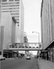 This historic photo shows the walkway in 1963. It links Wichita Executive Centre and Exchange Place.