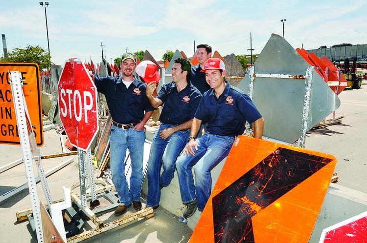 From left: Rusty Reynolds, vice president of operations, Colorado Barricade Co.; Zach Frisch, principal, Raindrop Partners; Ted Ott, president, Colorado Barricade; and Jordan Scharg, principal, Raindrop Partners.