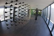 An art installation of flying ducks sits in a skybridge. Each duck represents a former player that went on to be drafted in the NFL.