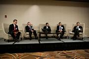 """Panelists at the CFO Awards luncheon were from left: moderator George Donnelly, editor Boston Business Journal; Morris McInnes, associate dean Sawyer Business School, Suffolk University; Chris Menard, EVP & CFO, Brightcove; Anthony Valente, CFO, Eliassen Group and Josh Kamenecka, VP sales consulting & office of the CFO, Oracle. Oracle presented the discussion on """"The CFO as a Catalyst for Change: The Evolving Role of Finance as Leaders in Innovation""""."""