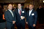 Element Productions' Eran Lobel with Coretelligent's Kevin Routhier and Jason Rossi during the networking portion of the Boston Business Journal's CFO Awards luncheon.