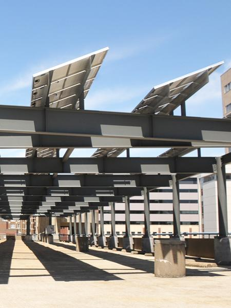 Panels for the solar array at Memphis Bioworks Foundation's parking garage were built locally by Sharp.