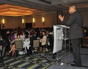 Alberto Padron, CEO of Stinghouse speaking, at the 40 under 40 awards.