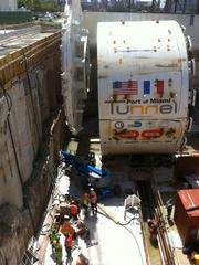 The Tunnel Boring Machine dug down to 120 feet below sea level before exiting on the port side of the tunnel and making its return trip.