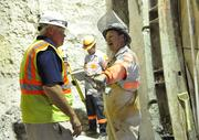 Christopher Hodgkins talks to Joe Toal about the cross passage to be cut through the stone frozen with brine.