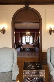 This photo shows how the living room connects to the formal dining room.