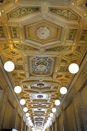 The main floor hallway of the historic U.S. Post Office, 511 N.W. Broadway, boasts a spectacularly ornate Italian Renaissance-style ceiling. The building, which will become the home of the Pacific Northwest College of Art, was constructed in 1916.