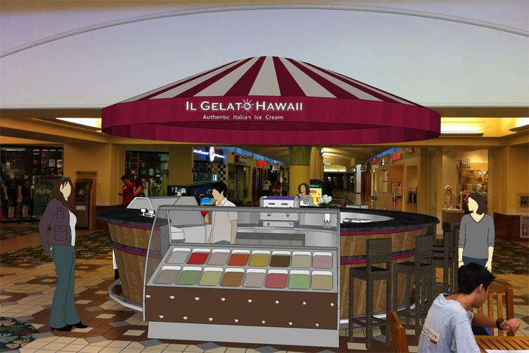 This rendering shows Il Gelato Hawaii's new kiosk at Kahala Mall.