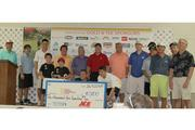 Gold and Tee Sponsors for the fourth-annual Hawaii Ace Hardware Dealers golf tournament benefitting the Kapiolani Children's Miracle Network pose for a photo in the back row. Front row, from left, Noah Ogata, Pioneer Ace volunteer; Ikaika Kaahanui, 2013 champion; Guy Kamitaki, Ace Hardware Hawaii group leader; and Cody Sugai, 2012 Children's Miracle Network Hospitals Hawaii champion. The tournament raised $10,500, with 100 percent of the funds supporting programs and services at Kapiolani Medical Center for Women & Children.