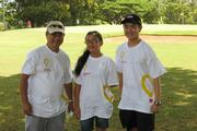 From left, Ace employee volunteers Roy Watanabe and Alexis Reyes pose for a photo with Cody Sugai, 2012 Children's Miracle Network Hospitals Hawaii champion at the fourth-annual Hawaii Ace Hardware Dealers golf tournament benefiting the Kapiolani Children's Miracle Network.