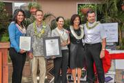 """From left, U.S. Rep. Tulsi Gabbard, D-Hawaii; Jaff Nash of Habilitat; Hawaii state Rep. Jessica Wooley;  Kim Gennaula of Aloha United Way   and Greg Valen of Toshiba Business Solutions pose for a photo at Habilitat's Kaneohe facility. Habilitat was awarded $1,500 for being a finalist in Toshiba's nationwide """"Helping the Helpers"""" nonprofit video contest."""