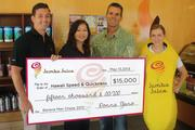 The 12th-annual Jamba Banana Man Chase, held at Ala Moana Beach Park, raised $15,000 for Hawaii Speed & Quickness, a skills training program to teach kids to excel in all sports. From left: Derek Vail, Jamba director of operations; Donna Yano, Jamba vice president of operations; Rich Miano, president of Hawaii Speed & Quickness and Banana Woman Lana Kuhn.