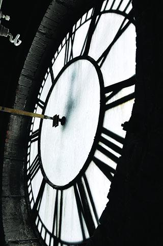 A view of Denver Union station's west-facing clock.