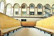 Benches at Union Station are corralled in the center of the building.