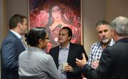 From left: Trey Vick of Equinox Development Properties Inc., OBJ reporter Anjali Fluker, Jason Albu of Albu & Associates Inc., Richard Haines of R.L. Haines Construction and Andrew Owens of A.D. Owens Construction Corp. all meet during the networking session.