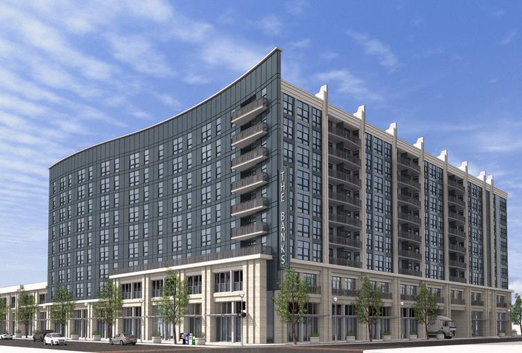 Phase IIA of the Banks project in downtown Cincinnati will include a nine-story apartment building with about 305 apartments and 21,000 square feet of retail space.