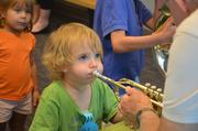 During the Instrument Zoo, children were able to see what it's like to play a real instrument.