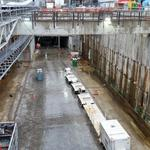 Tunnel boring machine Bertha ready to breakout from repair pit