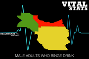 Male adults who binge drink  This indicator shows the percentage of males who reported binge drinking at least once during the 30 days prior to the survey. Male binge drinking is defined as five or more drinks on one occasion.  #1. Washington: 15.3 percent #2. Clackamas: 18.9 percent #3. Multnomah: 21.8 percent