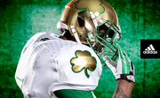The uniforms feature shamrocks on the sleeves and helmets.