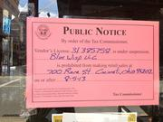 This notice was posted at the Blue Wisp Monday afternoon.