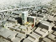 A rendering of a proposed mixed-use project, right, at Oakland's 1911 Telegraph Ave.