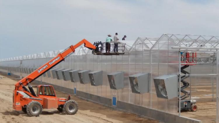 Construction work on a GrowCo marijuana greenhouse in Colorado