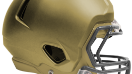A football helmet with Defend Your Head's Protech foam protective cover.