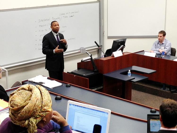 Winslow Sargeant, chief counsel for the Small Business Administration's Office of Advocacy, speaks during an event at the University of Pittsburgh.