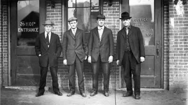 The founders of Harley-Davidson, left to right: Arthur Davidson, Walter Davidson, William Harley, and William Davidson.