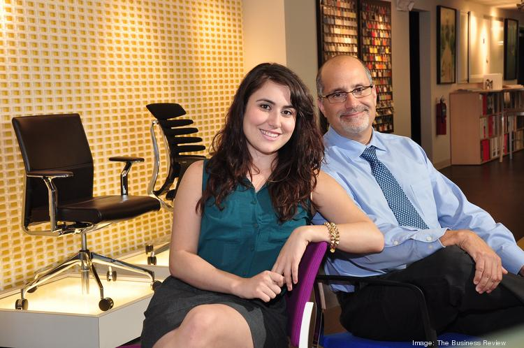 roi Office Interiors owner Robert Angelicola, and marketing director Marina Angelicola